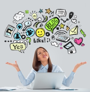 Online life concept. Business Woman looking upwards while workin